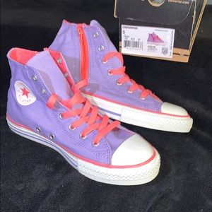 NWT RARE kids lavender glow side zip high tops